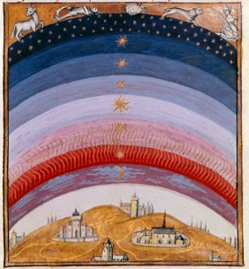 A view of the 15th century sky, from Les Echecs amoureux.