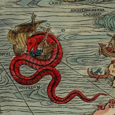 A detail from Olaus Magnus' 1539 <em>Carta Marina</em>.